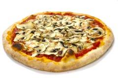 Pizza capriciosa mozzarela vermehrt sich italienische Lebensmittelpizza, Schinken Oliven explosionsartig lizenzfreies stockbild