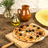 Pizza carbonara on wooden table Royalty Free Stock Photography
