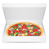 Pizza is in a cardboard box Stock Photography