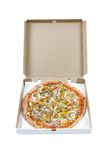 Pizza in cardboard box. Whole pizza in a cardboard box isolated on a white background Royalty Free Stock Photos