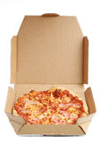 Pizza in a Cardboard Box Stock Photo
