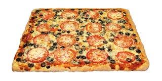 Pizza carrée savoureuse avec des légumes Image libre de droits