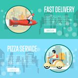 Pizza carrier service posters with couriers. Rides rocket and scooter in city. Restaurant advertising for online ordering take away fast food and express Royalty Free Stock Image