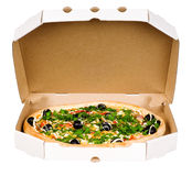 Pizza in carton box Royalty Free Stock Photos