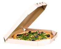 Pizza in carton box Royalty Free Stock Images