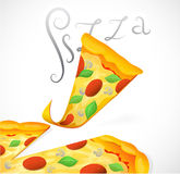 Pizza cartoon for menu illustration Stock Photos