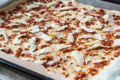 Pizza casalinga con salsa al pomodoro e la mozzarella Cottura della pizza a Immagini Stock Libere da Diritti