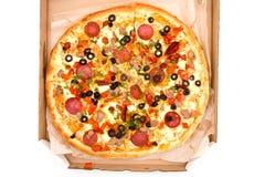 Pizza in casella fotografia stock libera da diritti