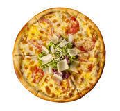 Pizza cezar with parmesan and chicken Royalty Free Stock Photo