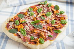 Pizza with chanterelle mushrooms stock image