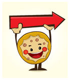 Pizza character with arrow. 4 panels with a coffe elements. eps 8.0 Royalty Free Stock Images