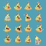 Pizza character emoji set. Funny cartoon emoticons Stock Images