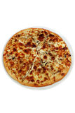 Pizza with cheese and champignons. Pizza with appetizing crust, with mushrooms and cheese Stock Photo