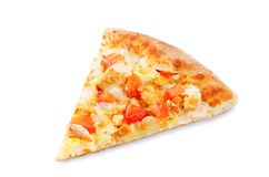 Pizza with cheese, chicken and fresh tomato slices royalty free stock photography