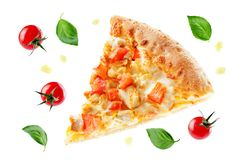Pizza with cheese, chicken and fresh tomato slices royalty free stock photo