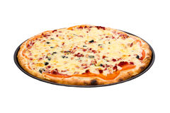 Pizza with cheese and ham isolated on white Stock Photos