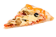 Pizza with cheese and ham isolated on white Stock Photo