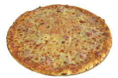 Pizza with cheese and ham isolated on white. Background Royalty Free Stock Images