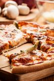 Pizza with cheese and ham Stock Image