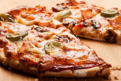 Pizza with cheese and ham Stock Photography