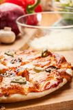 Pizza with cheese and ham Stock Photo