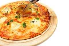 Pizza with cheese, italian cuisine Royalty Free Stock Images