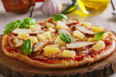 Pizza with cheese and pineapple chicken Royalty Free Stock Photography