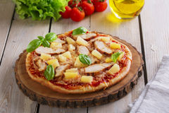 Pizza with cheese and pineapple chicken Stock Photos