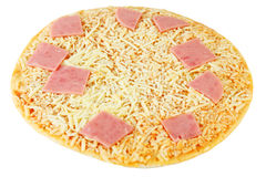 Pizza with cheese and pink ham isolated Stock Photos