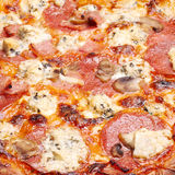 Pizza with cheese, salami Royalty Free Stock Photography