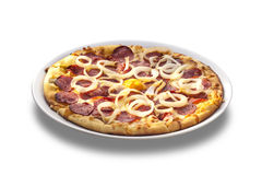 Pizza with cheese, salami and onion rings Royalty Free Stock Photography