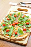 Pizza with cheese, salmon Royalty Free Stock Images