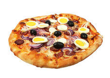 Pizza with cheese, sausage, eggs and olives Royalty Free Stock Photography
