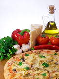Pizza with cheese, tomatoes and mushrooms Stock Photos