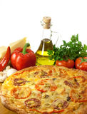 Pizza with cheese, tomatoes and mushrooms isolated Royalty Free Stock Photography