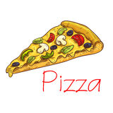 Pizza with cheese and vegetables sketch Stock Images