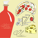Pizza, cheese and wine Stock Photography