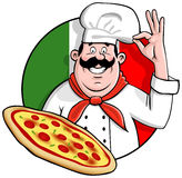 Pizza Chef. Illustration of a cartoon italian chef with the perfect  freshly baked pizza Stock Photos