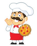 Pizza Chef. Clipart Picture of a Pizza Chef Cartoon Character Stock Image