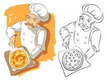 Pizza Chef In Color Plus Black And White Version Royalty Free Stock Photos