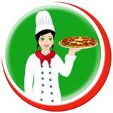 Pizza chef - italian. Italian pizza chef with pizza Stock Photography