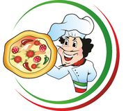 Pizza chef. Italian Chef holding a pizza Royalty Free Stock Image