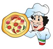 Pizza chef. Italian Chef holding a pizza Royalty Free Stock Photo