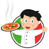Pizza Chef Logo. Pizza chef or cook or italian cuisine logo, isolated on white background. Eps file available Royalty Free Stock Photography