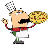Pizza Chef Man. Holding his pizza stock illustration