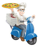 Pizza chef moped delivery Royalty Free Stock Image