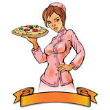 Pizza chef woman. Single Girl pizza chef woman on white Stock Images