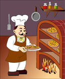 Pizza chef3-color Royalty Free Stock Image