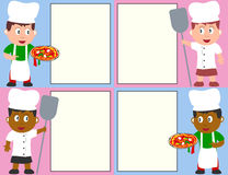 Pizza Chefs and Menu. Four pizza chef kids with a blank menu. Eps file available Stock Photos