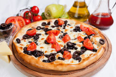 Pizza Cherry. With cheese and olive stock image